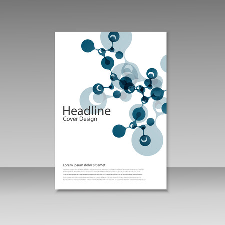 Abstract molecules brochure design. Vector cover template. Illustration