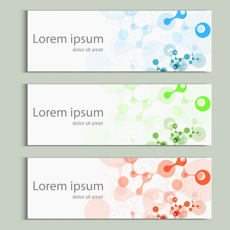 Abstract molecules banner design. Vector cover template.