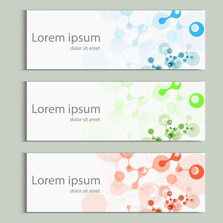 Diseño de banner de moléculas abstractas. Plantilla de portada de vector