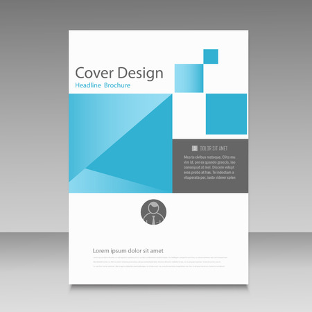 manual: Abstract brochure template with squares elements. Illustration