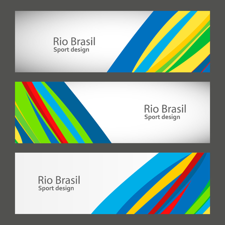 participate: Set banners in colors of Brazil flag. Vector color concept.
