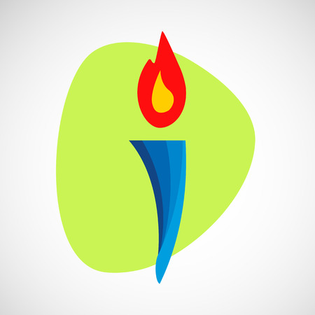 Burning torch vector icon. Stock Photo