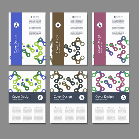 figuras abstractas: Brochures design templates. Vector pattern with abstract figures. Vectores