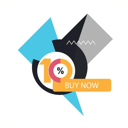 ten: Ten symbol, years, anniversary logo, discount.