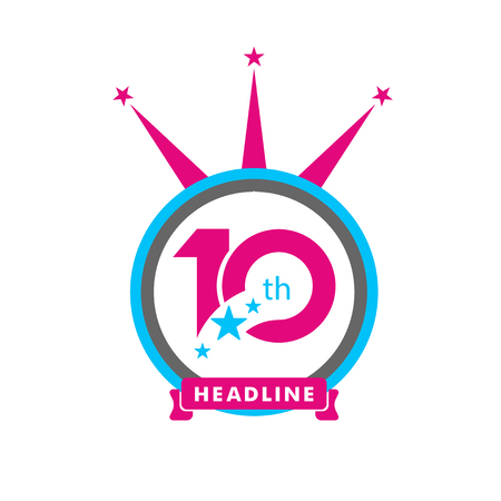 Ten symbol, years, anniversary logo, discount.