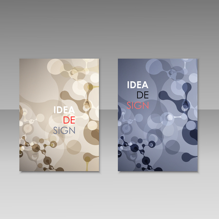 Geometric abstract modern colorful brochure templates, design elements, molecule background