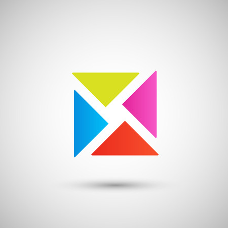 checked: abstract colored triangles on a white background