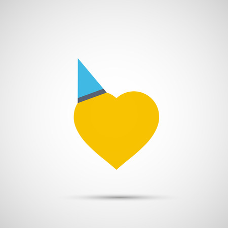 Yellow heart with cap icon illustration on light background. Illustration