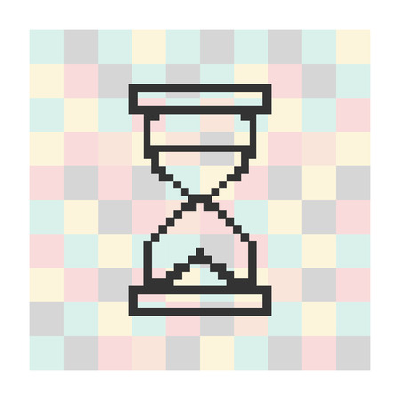 Vector pixel icon hourglass on a square background illustration.
