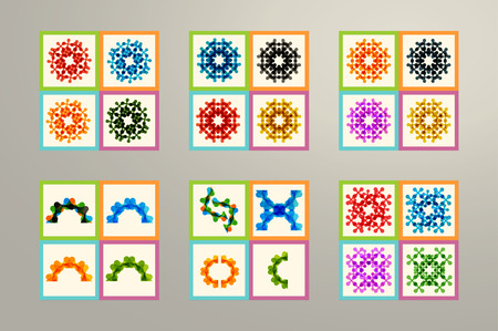 Set of color molecule and technology pattern vector illustration Illustration