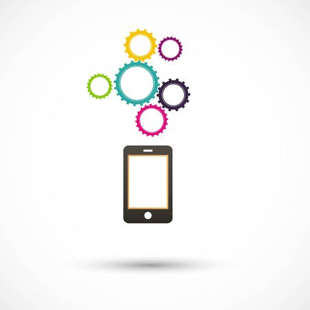 Vector black smartphone abstract colored gears white background.
