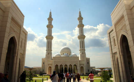 Negeri Sembilan, Malaysia - October 10, 2019: Masjid Sri Sendayan also known as the White Mosque, This mosque has officially being open to the public on 20th September 2019, in Seremban 2, Malaysia