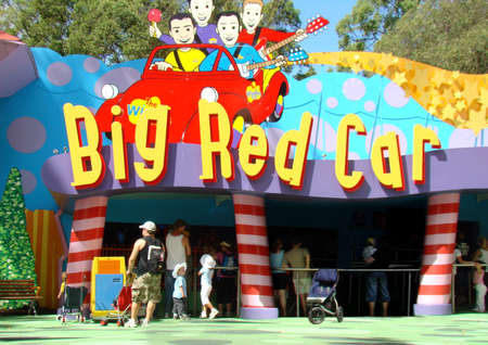 Gold Coast, Australia - April 15, 2008 : Unidentified group of people at Big Red Car entrance buying tickets at the tickets counter in Dreamworld, Gold Coast, Australia.
