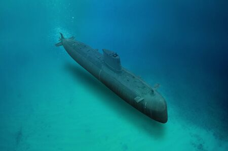 Naval submarine submerge underwater during a mission