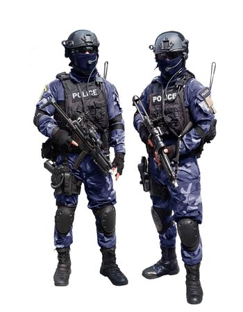 Police special unit over white background