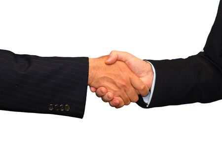 Business partnership hand shake concept in close up