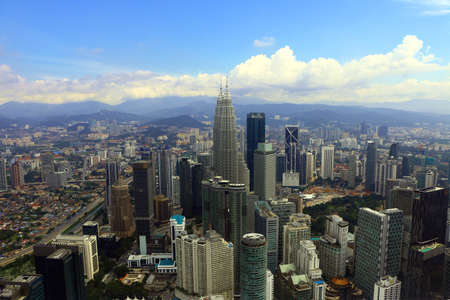 KUALA LUMPUR, MALAYSIA -DEC 22, 2018- Panorama view of Kuala Lumpur city center buildings in Malaysia