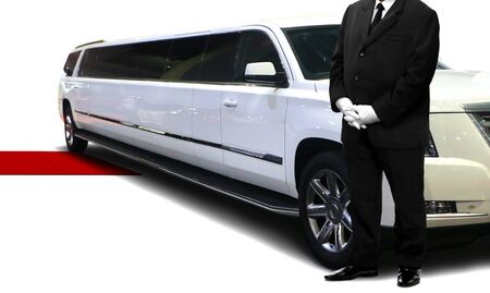 Chauffeur service person standing next to luxury car