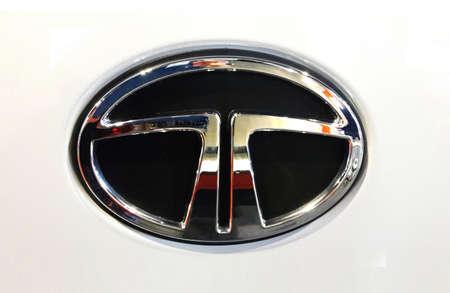 Kuala Lumpur, Malaysia-November 1,2018 :  Tata logo on white car body. Tata Motors Limited is an Indian multinational automotive manufacturing company headquartered in Mumbai, India