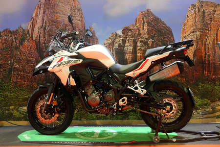 Kuala Lumpur, Malaysia-November 1,2018 : Benelli TRK 502X motorcycle, displayed during the Kuala Lumpur International Motor Show (KLIMS 2018) at Mitec in Kuala Lumpur,Malaysia. Sajtókép