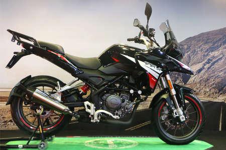 Kuala Lumpur, Malaysia-November 1,2018 : Benelli TRK 251 motorcycle, displayed during the Kuala Lumpur International Motor Show (KLIMS 2018) at Mitec in Kuala Lumpur,Malaysia.