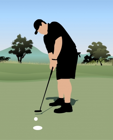 golf player putting the ball Illustration