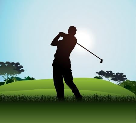 columpios: jugador de golf Vectores