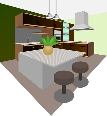 kitchen interior Illustration