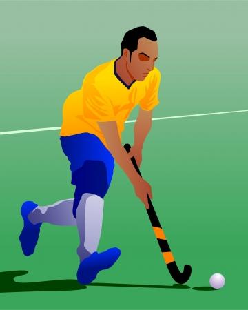 hockey sobre cesped: jugador de hockey Vectores