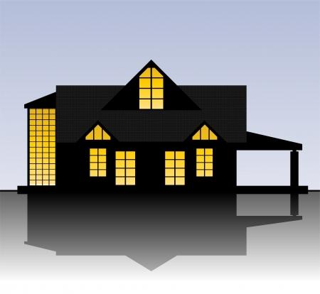 luxury house exterior: Bungalow Illustration