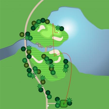 Een luchtfoto van een golfbaan Vector Illustratie