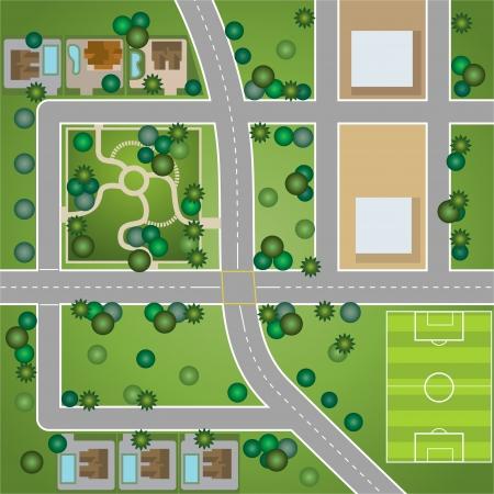 Een plattegrond van de stad Vector Illustratie