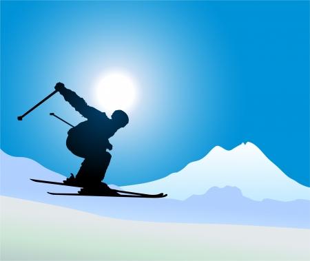 Man playing ski Illustration