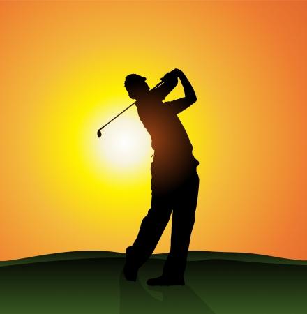 golf tee: Golfer silhouette  Illustration