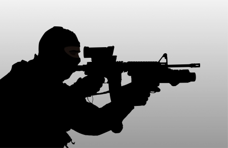 military silhouettes: Soldier