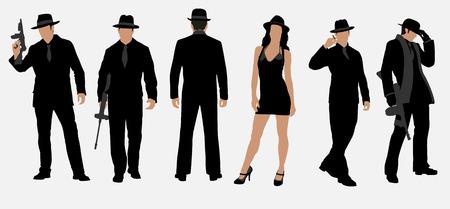 gangster with gun: mafia set