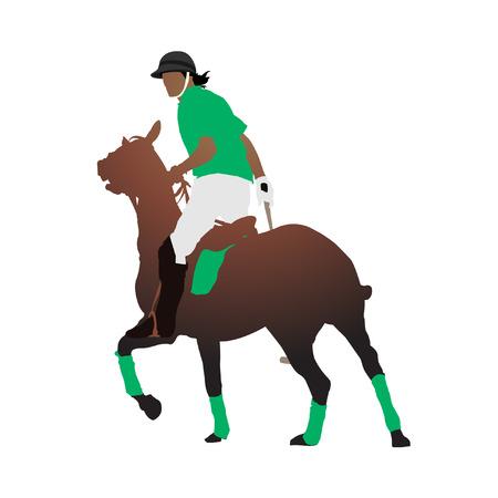 uomo a cavallo: Giocatore di polo Vettoriali