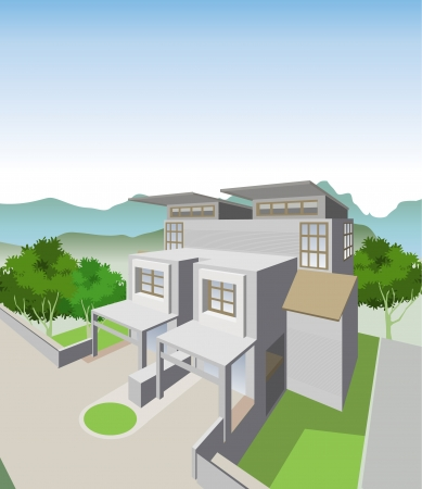 Semi Detached House Vector
