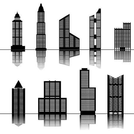 tall buildings: Skyscraper buildings set Illustration