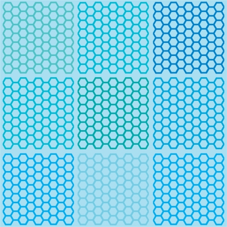 Seamless blue hexagon pattern vector Illustration