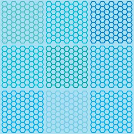 Seamless blue hexagon pattern vector Illustration
