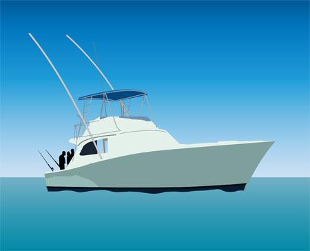 fishing boat: 낚시 보트 일러스트