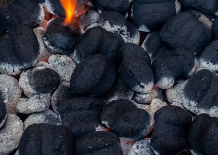 hot burning charcoal for barbecue