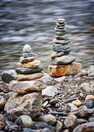 Stone balancing next to stream in Etrachsee, Austria