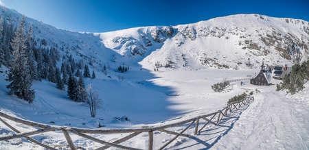 Beautiful landscape of winter Karkonosze mountains, Panorama Stock Photo