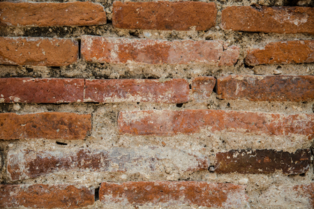 Vintage Red Brick Wall With Crashed White Plaster Background, White Red Retro Wallpaper, Abstract Urban Rough Pattern