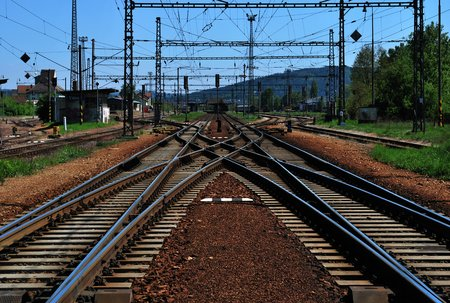 turnouts: Railway track with many turnouts.