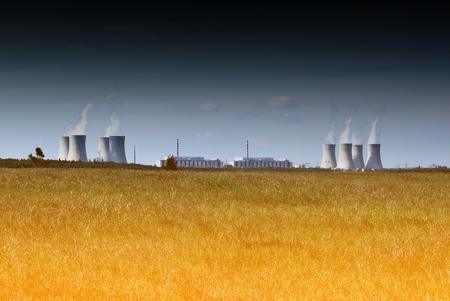 dukovany: Panorama with nuclear power plant Dukovany in Czech Republic. Stock Photo