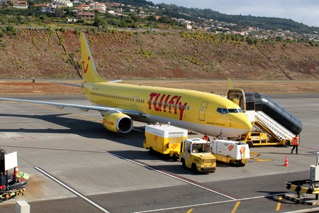 boeing: Airplane Boeing 737-800, TUIfly Germany, Madeira airport, Portugal, June, 2013