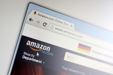 amazon com: CZECH REPUBLIC - JULY - 28: Homepage of Amazon.com in the Czech Republic on Tuesday, July 28, 2015.